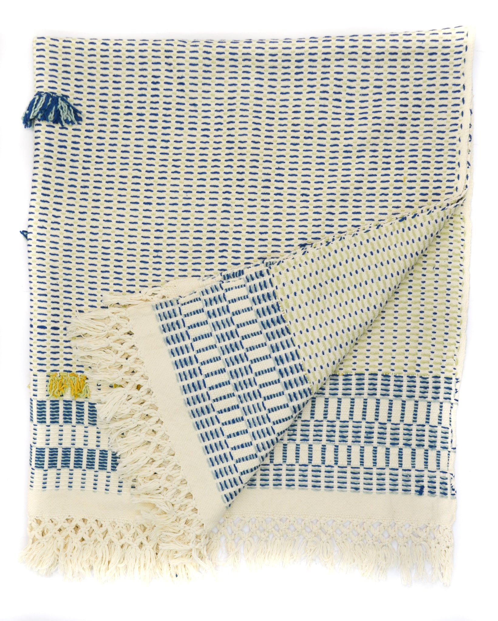Handwoven organic cotton throw yellow blue