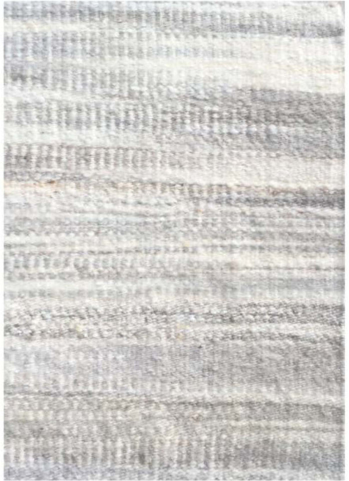 Handwoven wool rug white natural