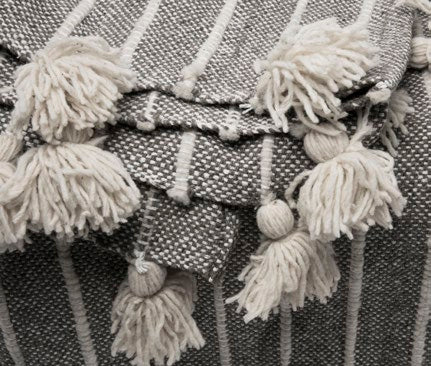 Handwoven wool bed cover with tassels grey and natural