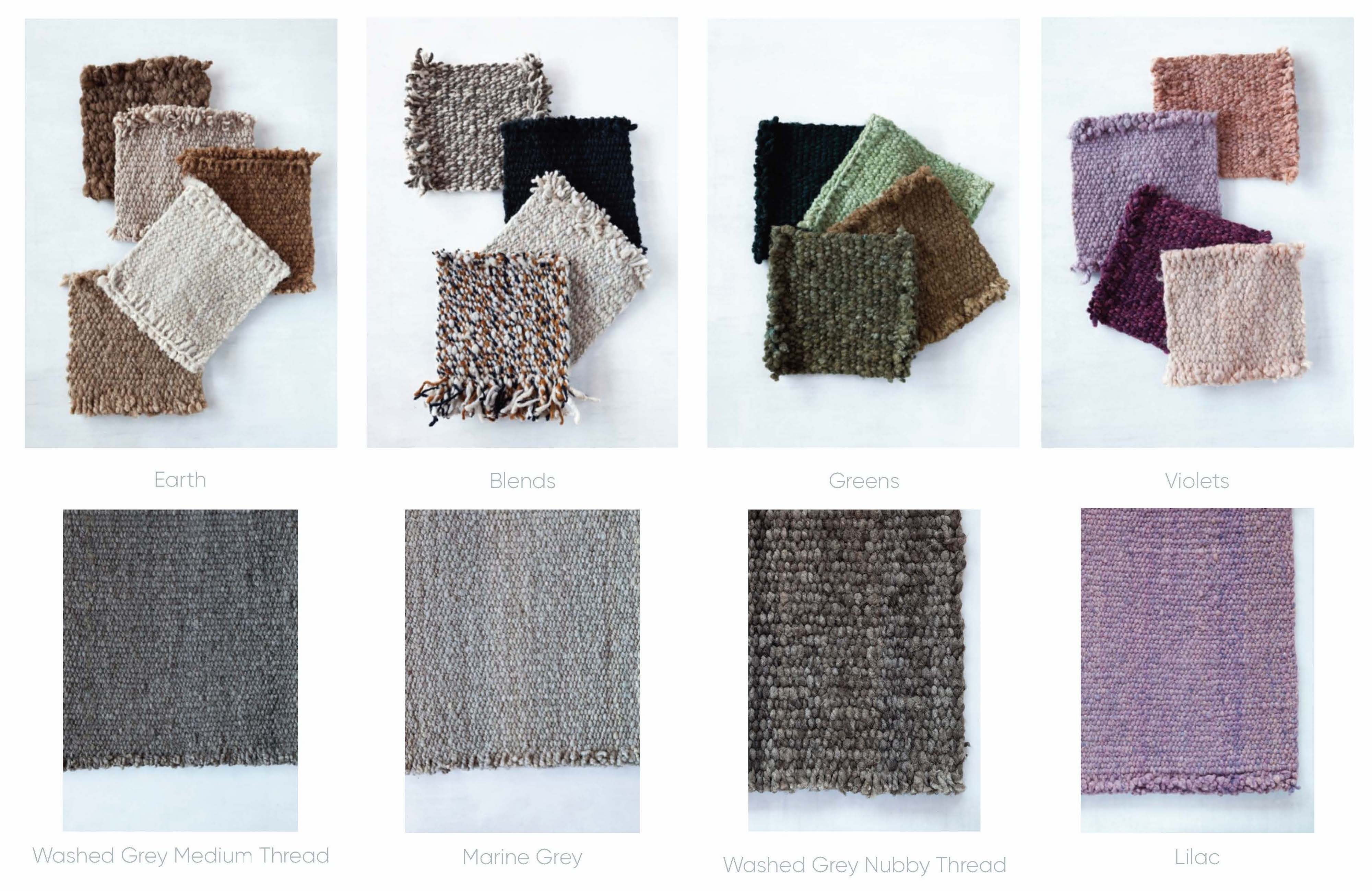 Handwoven wool rugs color chart