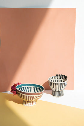 Colored Footed Bowls - set of 2