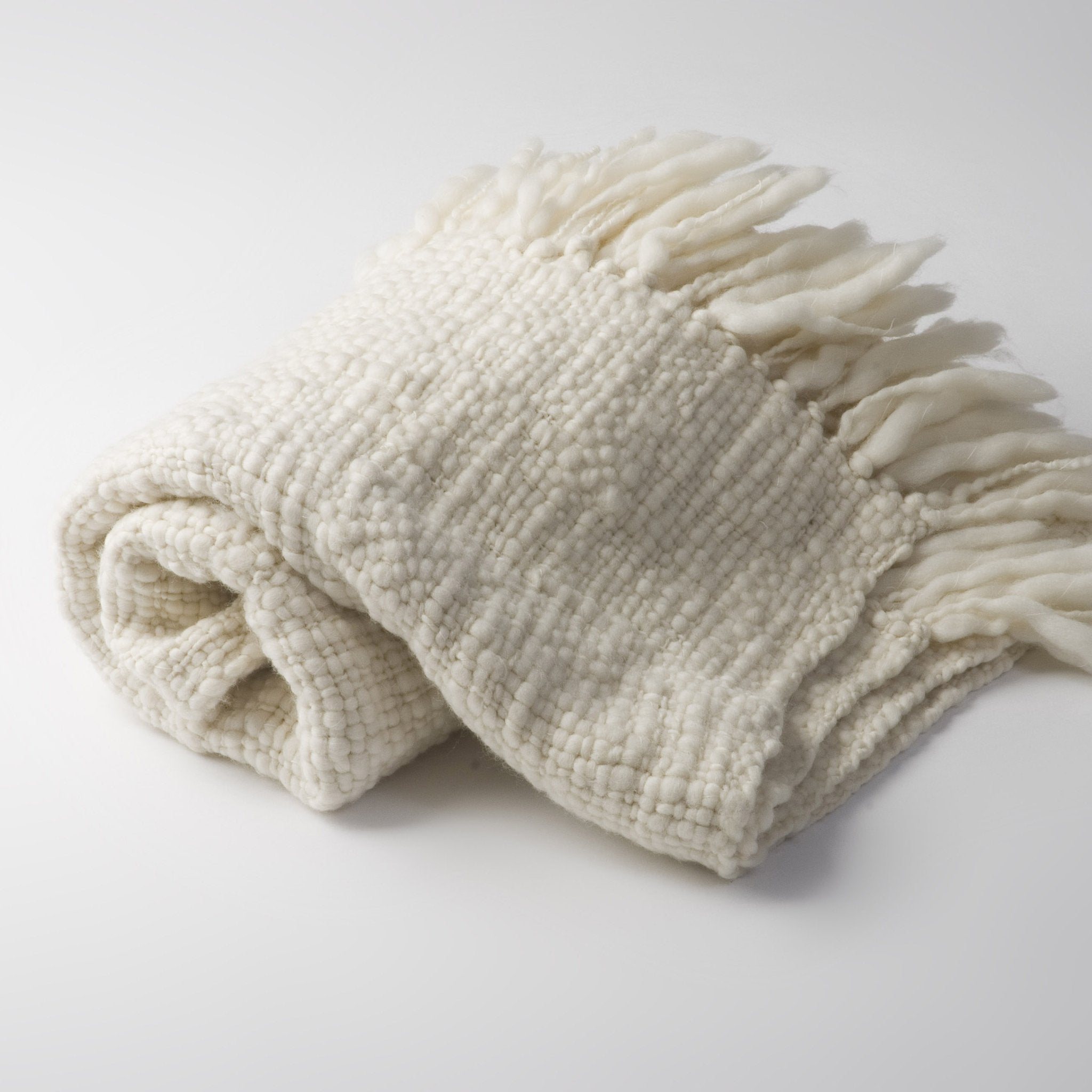 Handwoven baby merino wool blanket natural