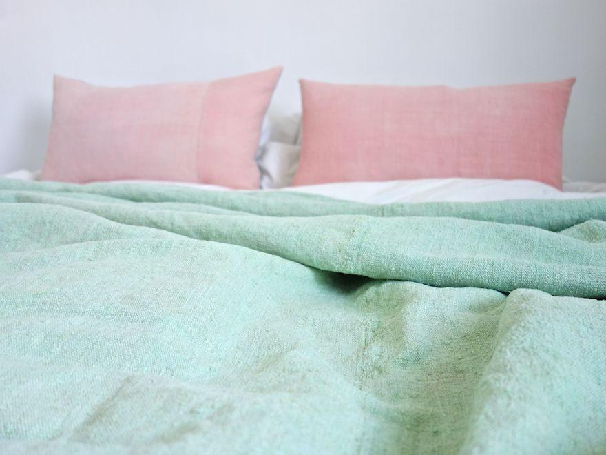 Hand-painted vintage linen throw aqua blue