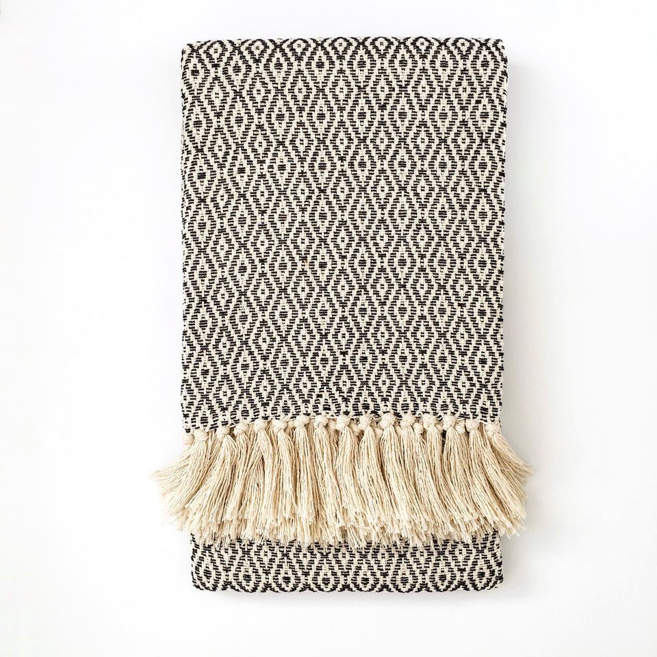 Handwoven recycled cotton throw geometric pattern black and white B&W fringe
