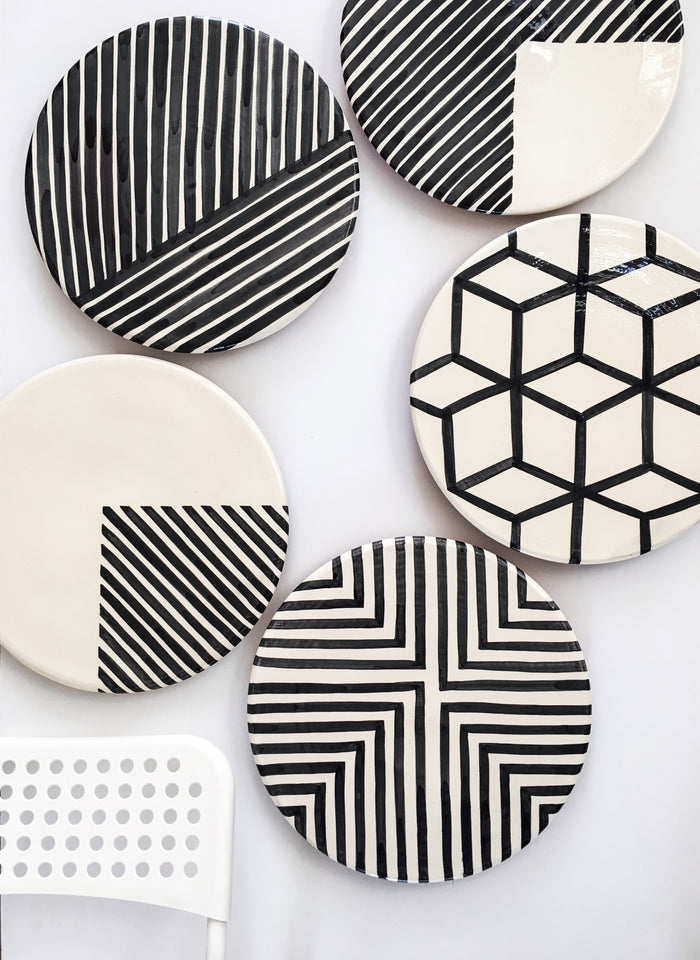 Handmade ceramic platters geometric pattern black and white B&W