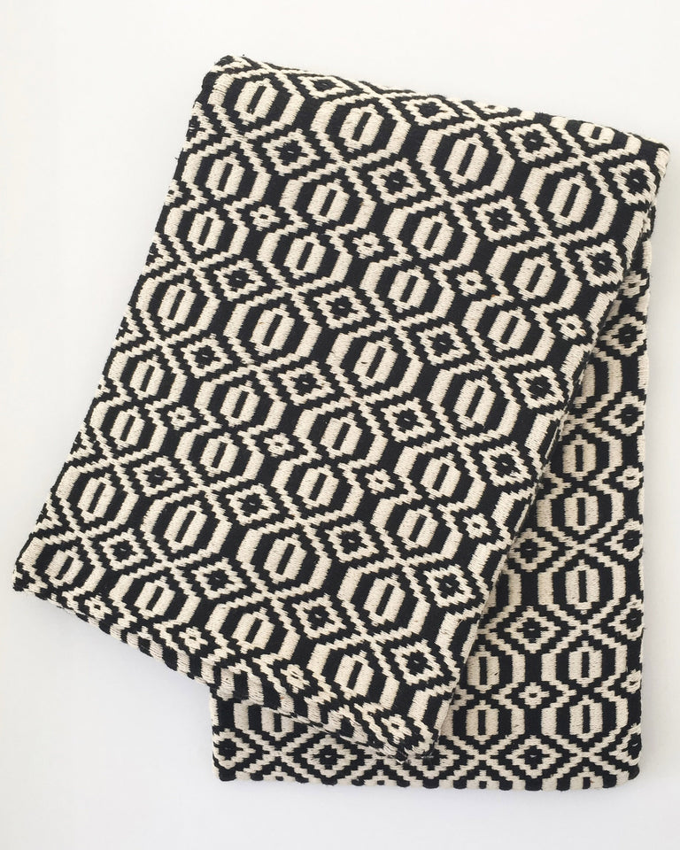Handwoven recycled cotton blanket geometric pattern black and white B&W
