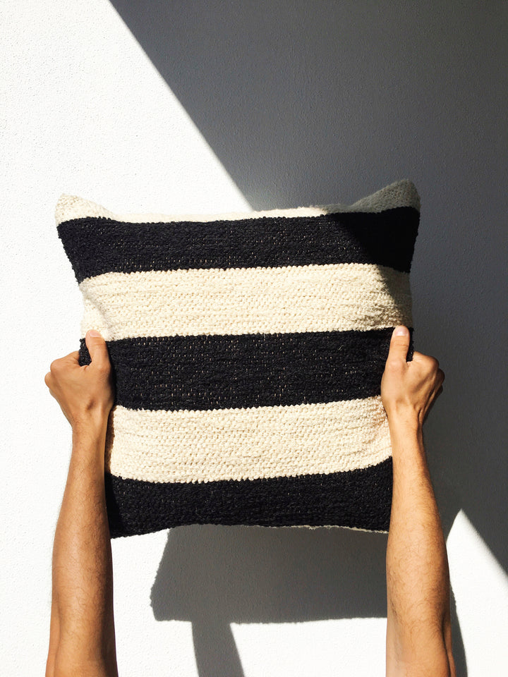 Handwoven recycled cotton pillow black and white B&W