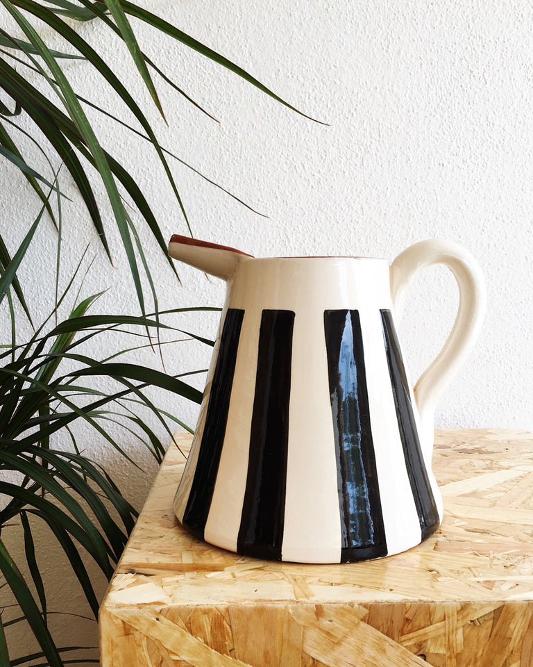 Handmade ceramic pitcher geometric pattern black and white B&W