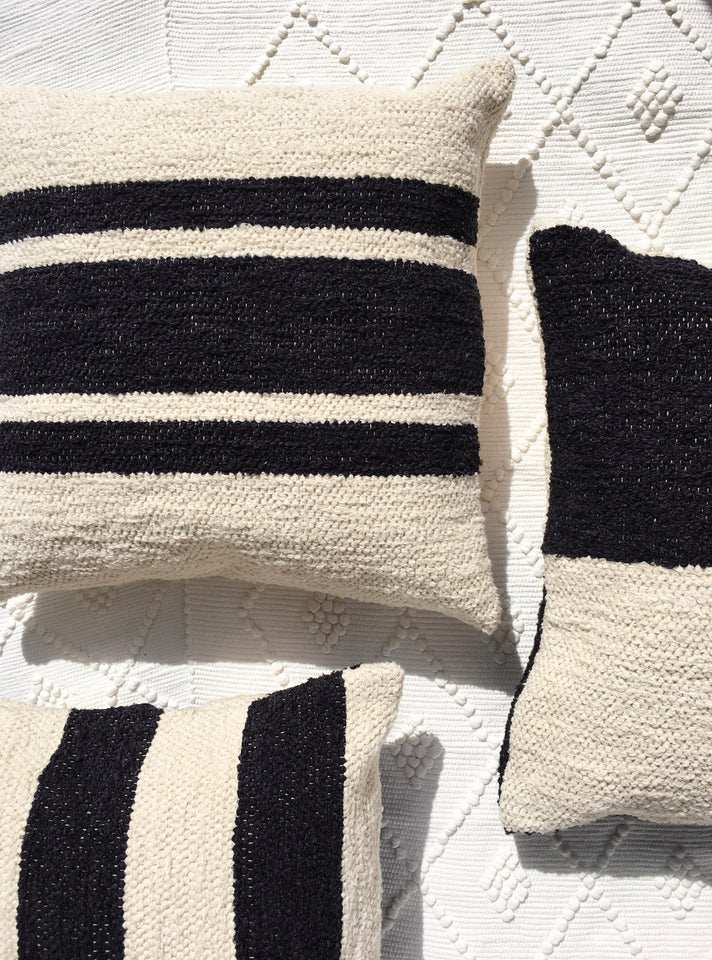 Handwoven recycled cotton pillows black and white B&W
