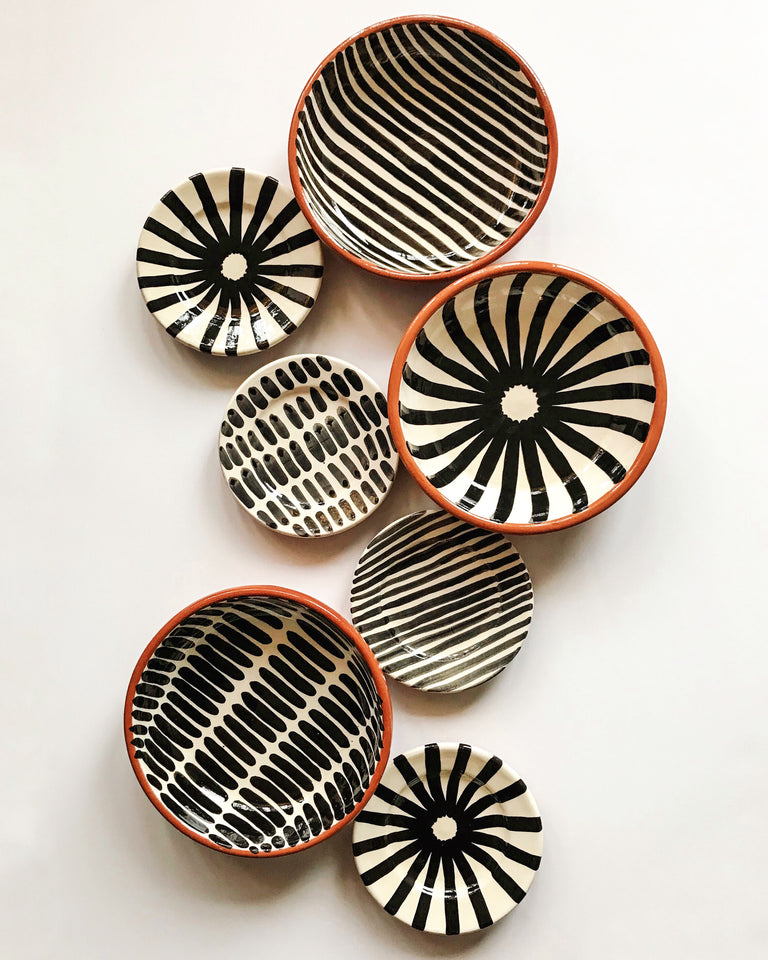 Handmade ceramic bowls geometric pattern black and white B&W