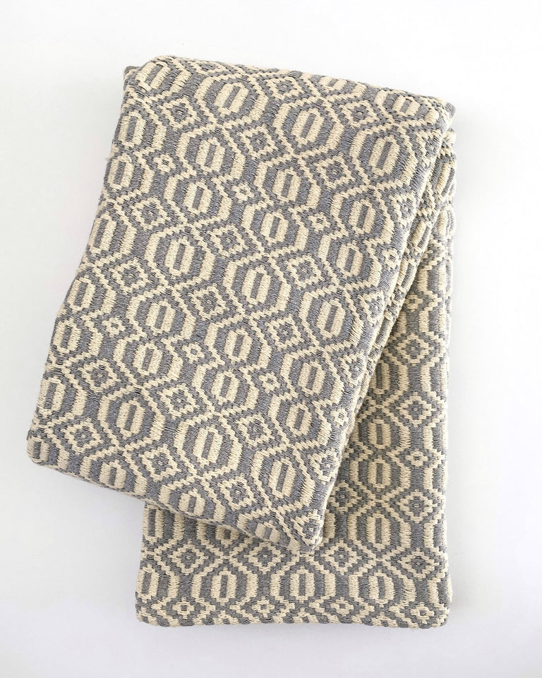 Handwoven recycled cotton blanket geometric pattern grey and white