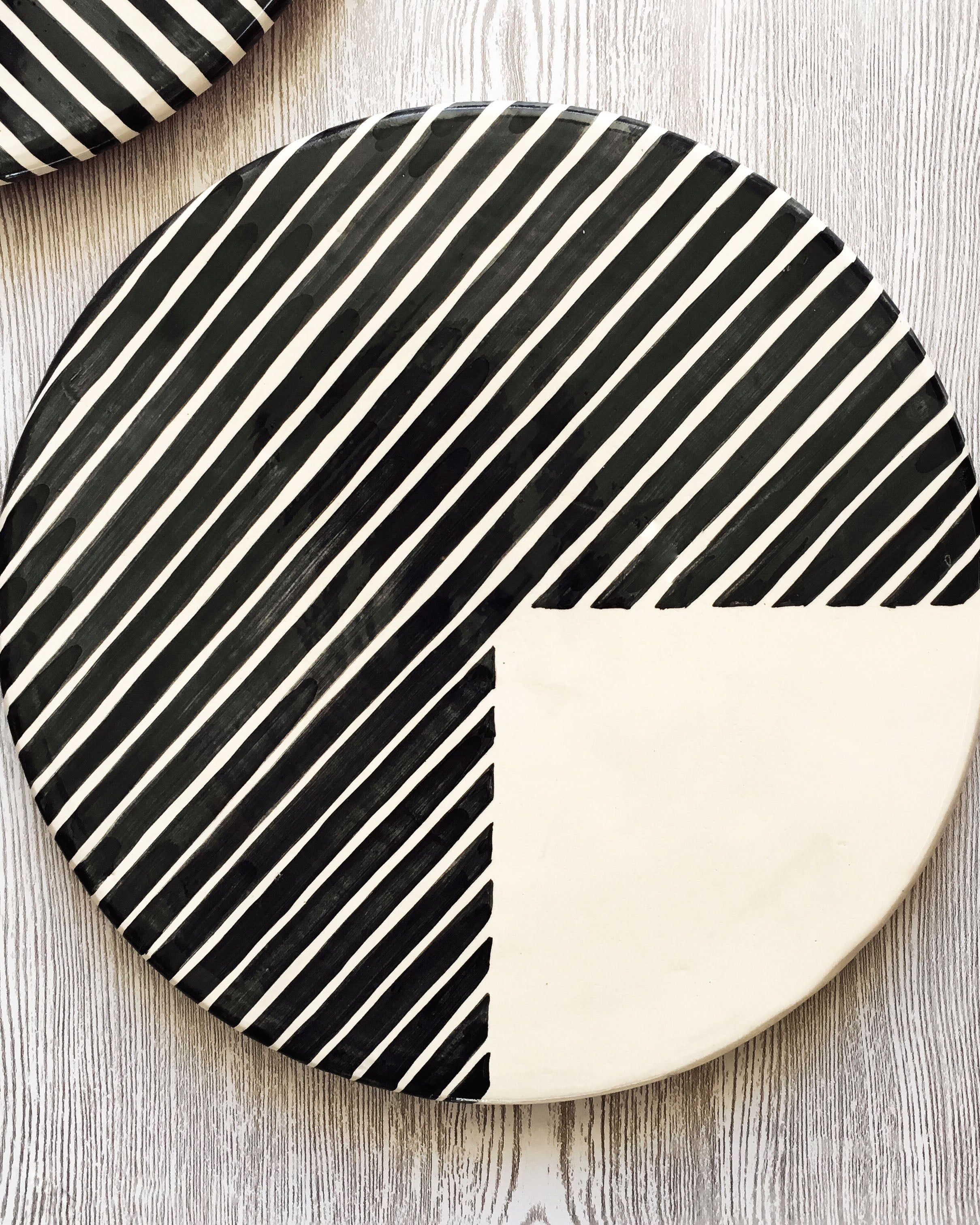 Handmade ceramic platter geometric pattern black and white B&W