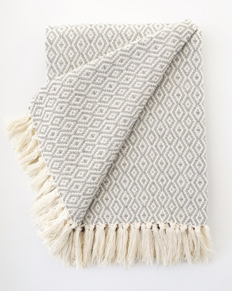 Handwoven recycled cotton throw geometric pattern grey and white fringe
