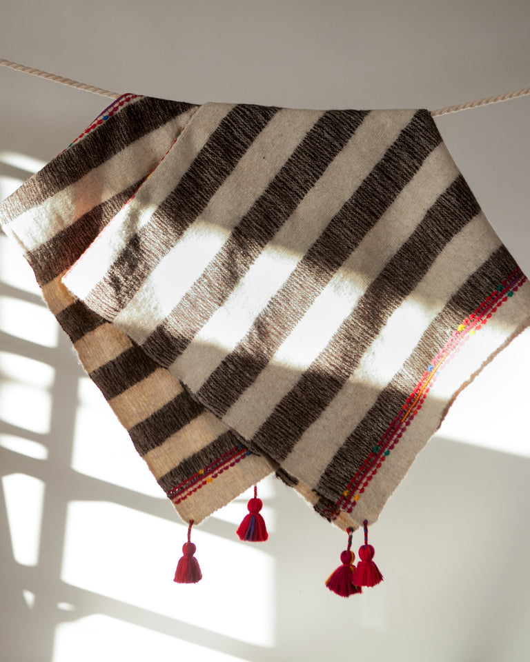 Chamula Wool Throw - Grey Stripe