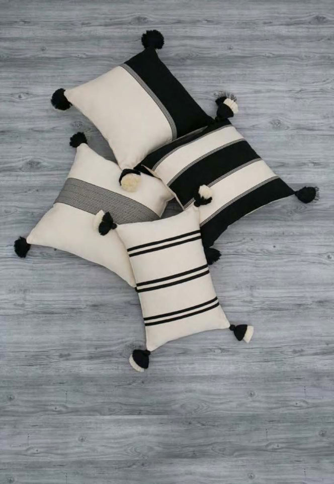 Handwoven cotton pillows black and white B&W with tassels
