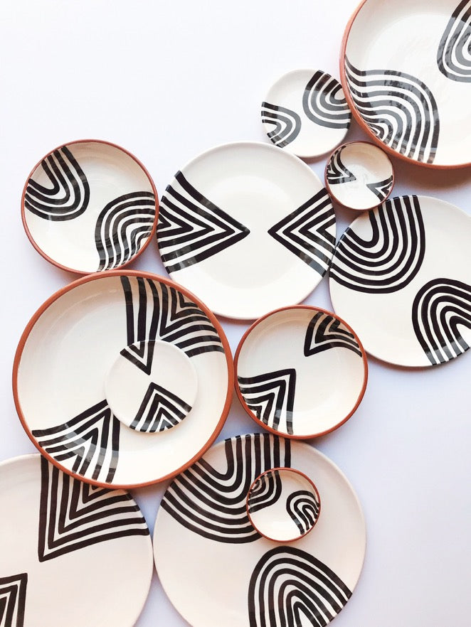 Handmade ceramic plates geometric pattern black and white B&W