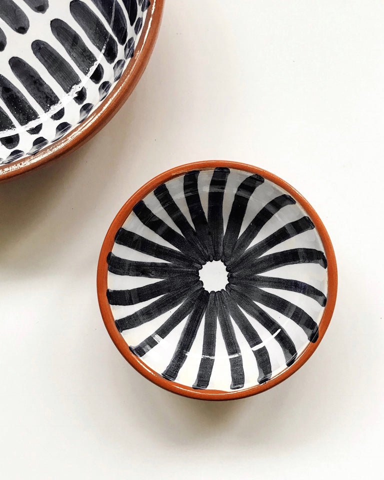 Handmade ceramic bowl geometric pattern black and white B&W