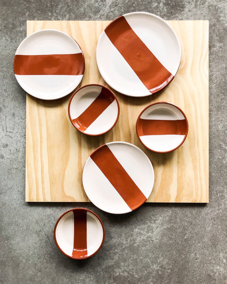 Handmade ceramic plates terracota and white