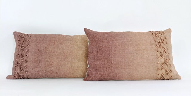Hand-painted vintage linen pillow brown tan