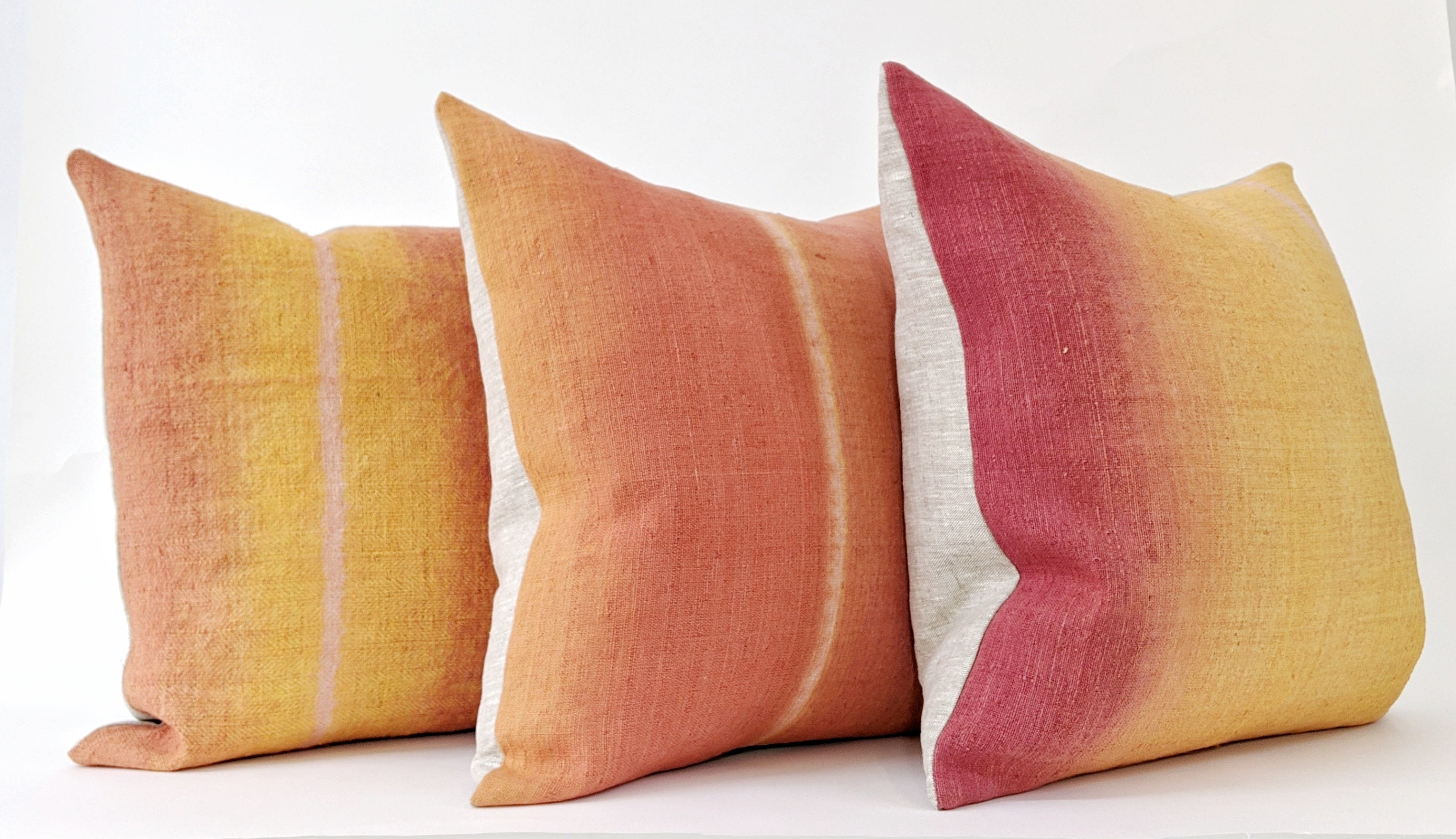 Hand-painted vintage linen pillow orange yellow rust pink