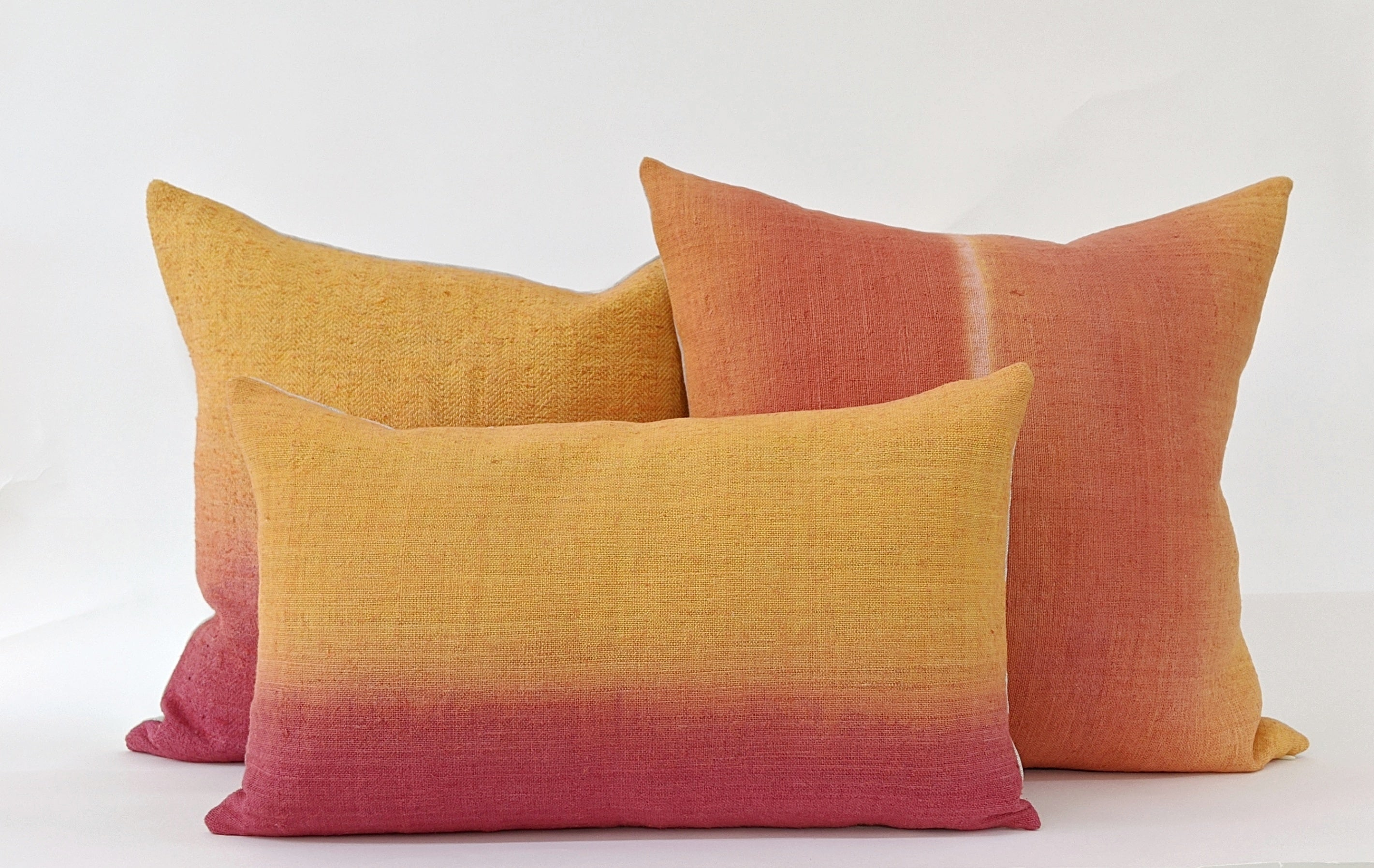 Hand-painted vintage linen pillows orange yellow rust pink