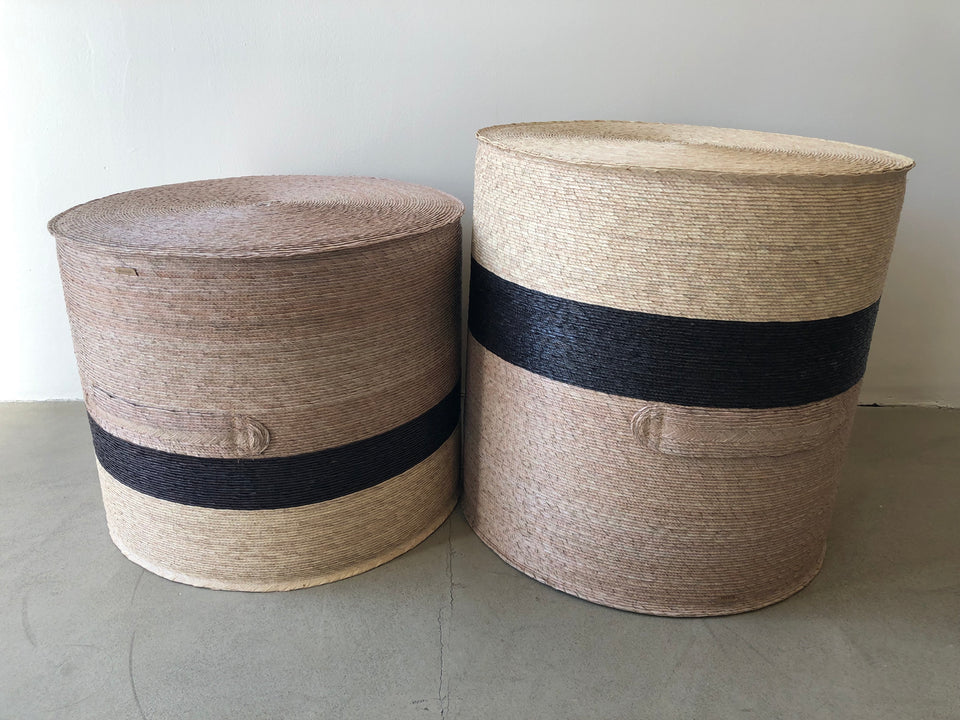 Handwoven palm poufs black grey natural
