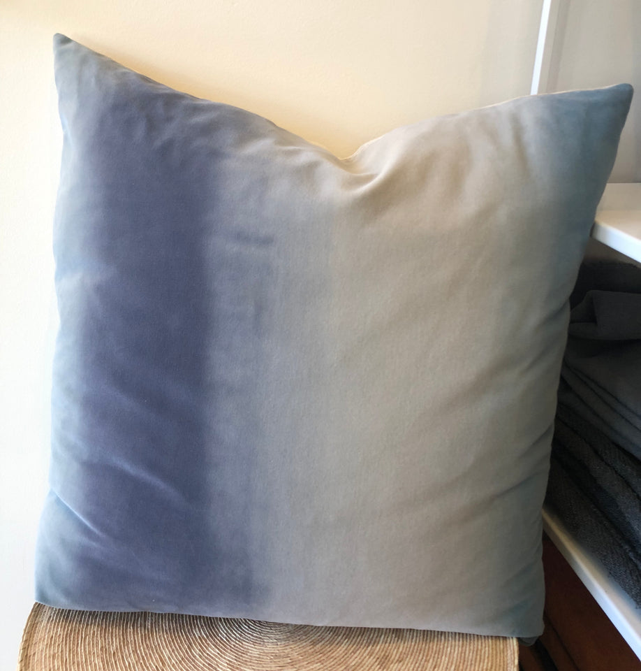 Hand-Painted Velvet Pillow - Blues