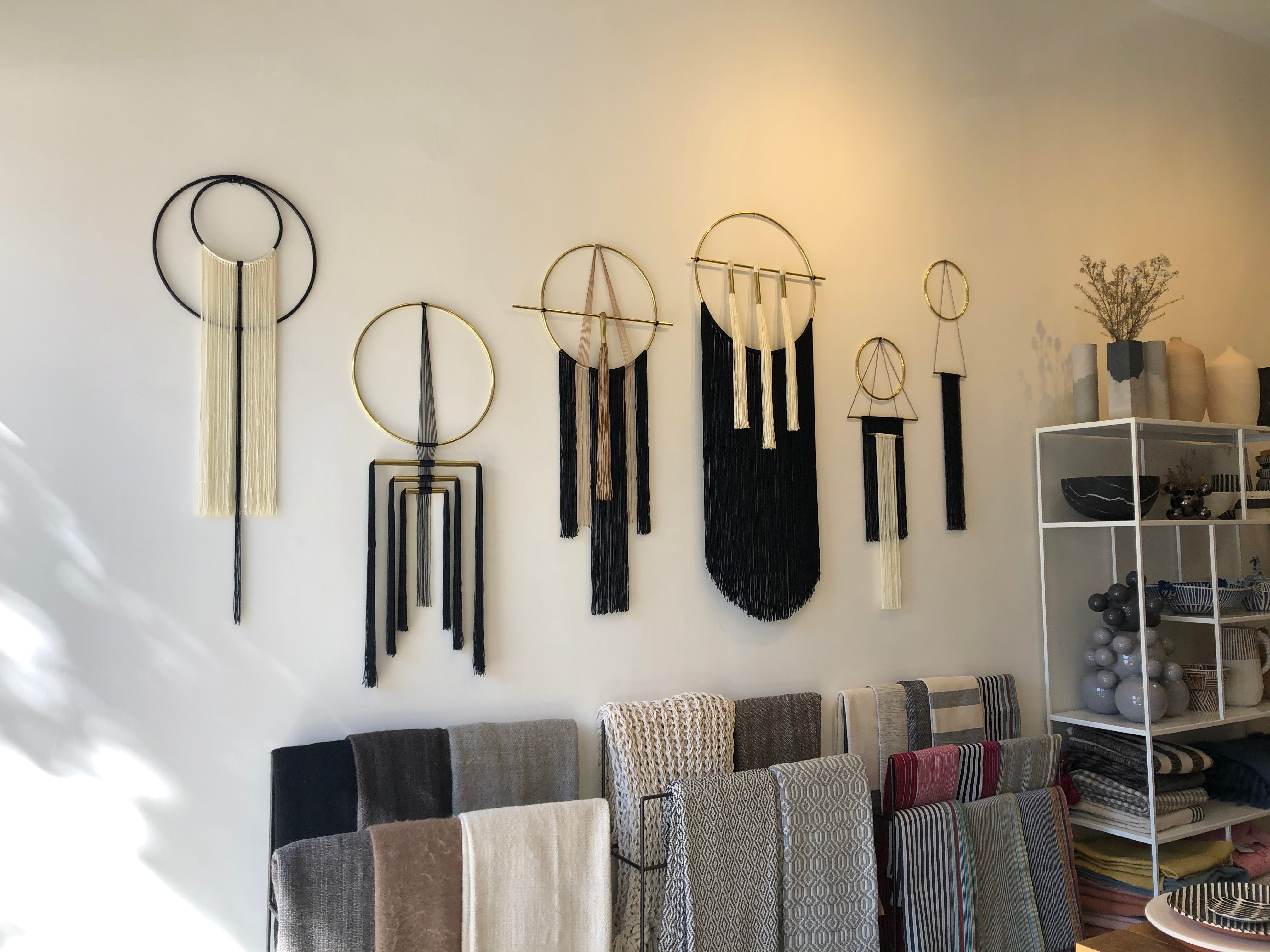 Brass and nylon wall hangings black and white B&W