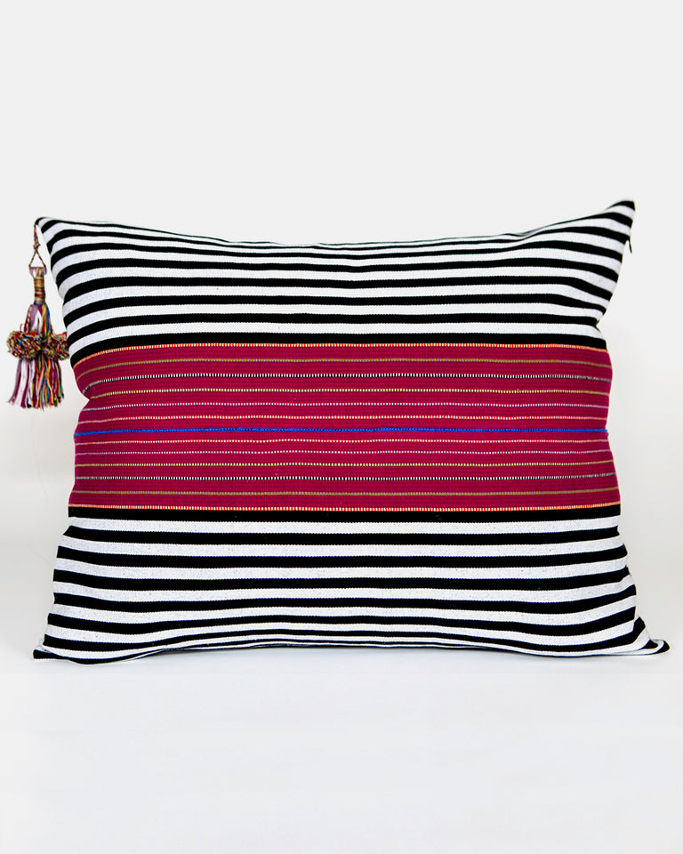 SanCri Pillow Black Stripe with Red