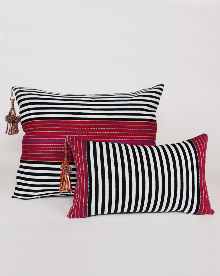 Handwoven cotton pillow black and white and red stripes with tassels