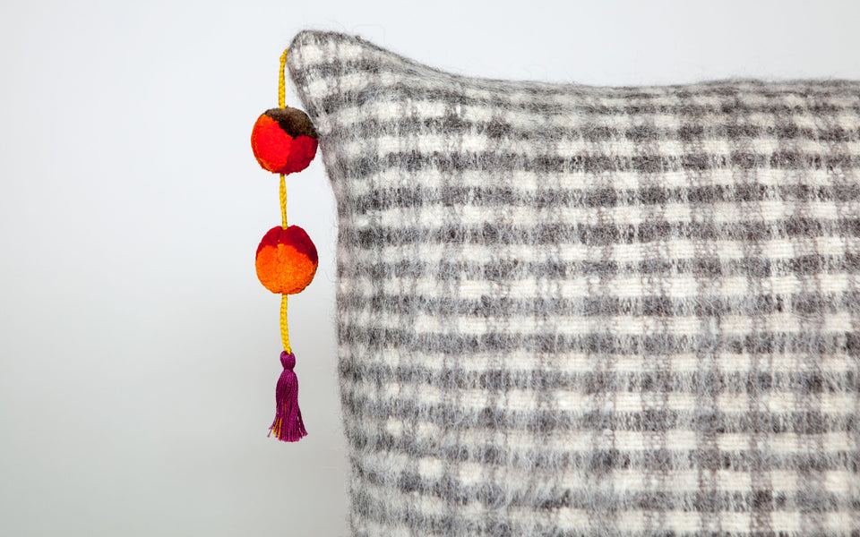 Chamula Checkered Wool Pillow