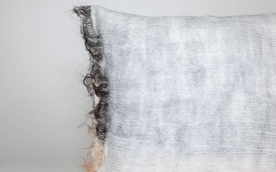 Hand-felted silk and wool grey and brown pillow reversible with fringe