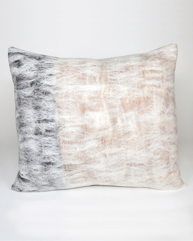 Hand-felted silk and wool grey and brown pillow reversible
