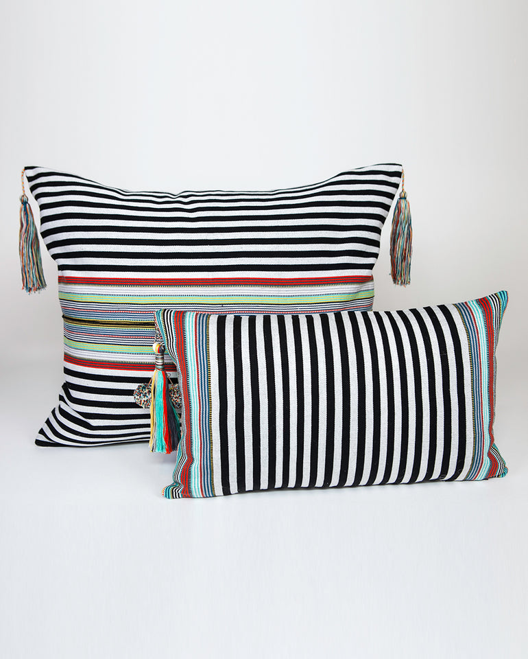 Handwoven cotton pillow with colored tassels black and white B&W green