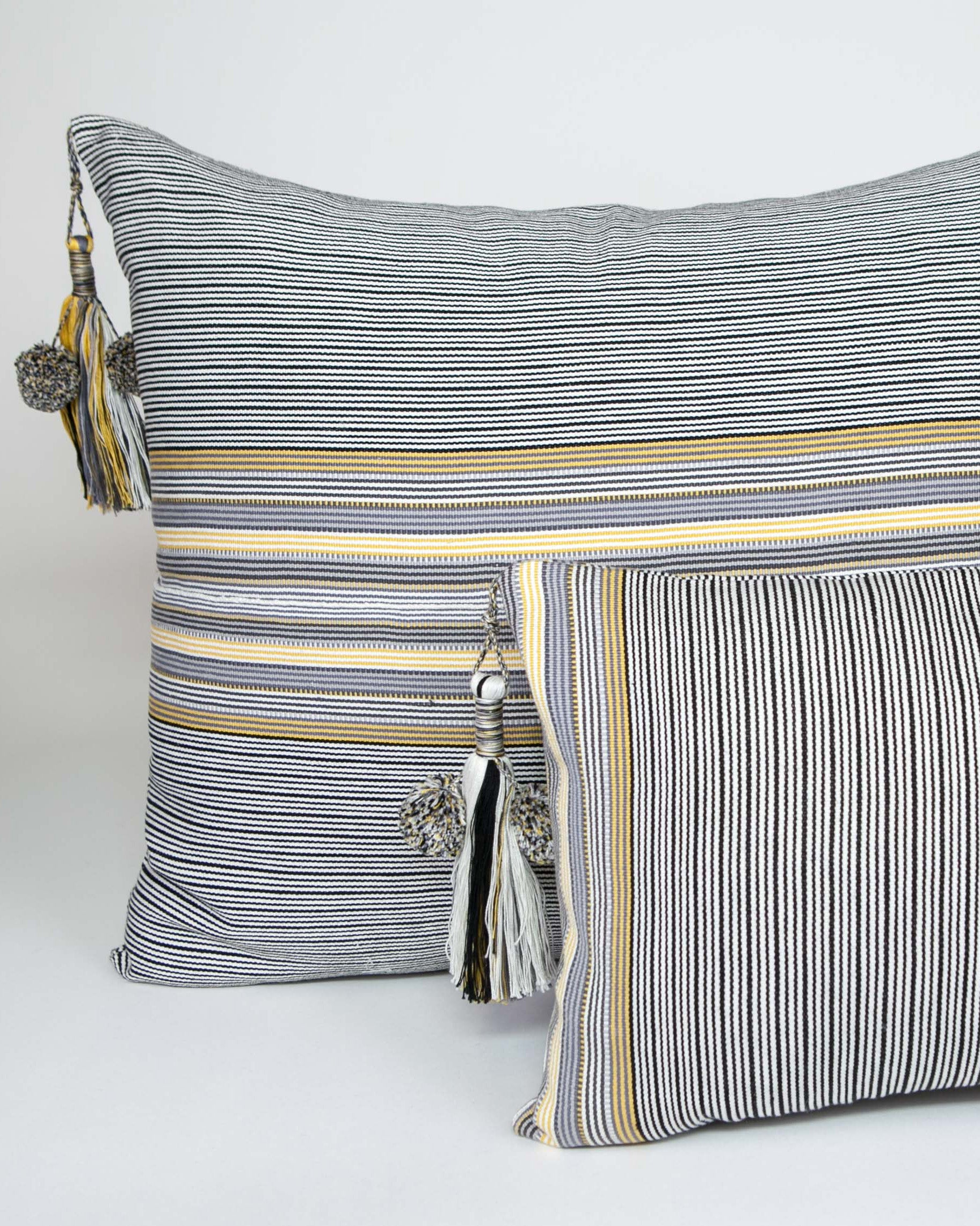 Handwoven cotton pillow black and white with grey and yellow stripes with tassel