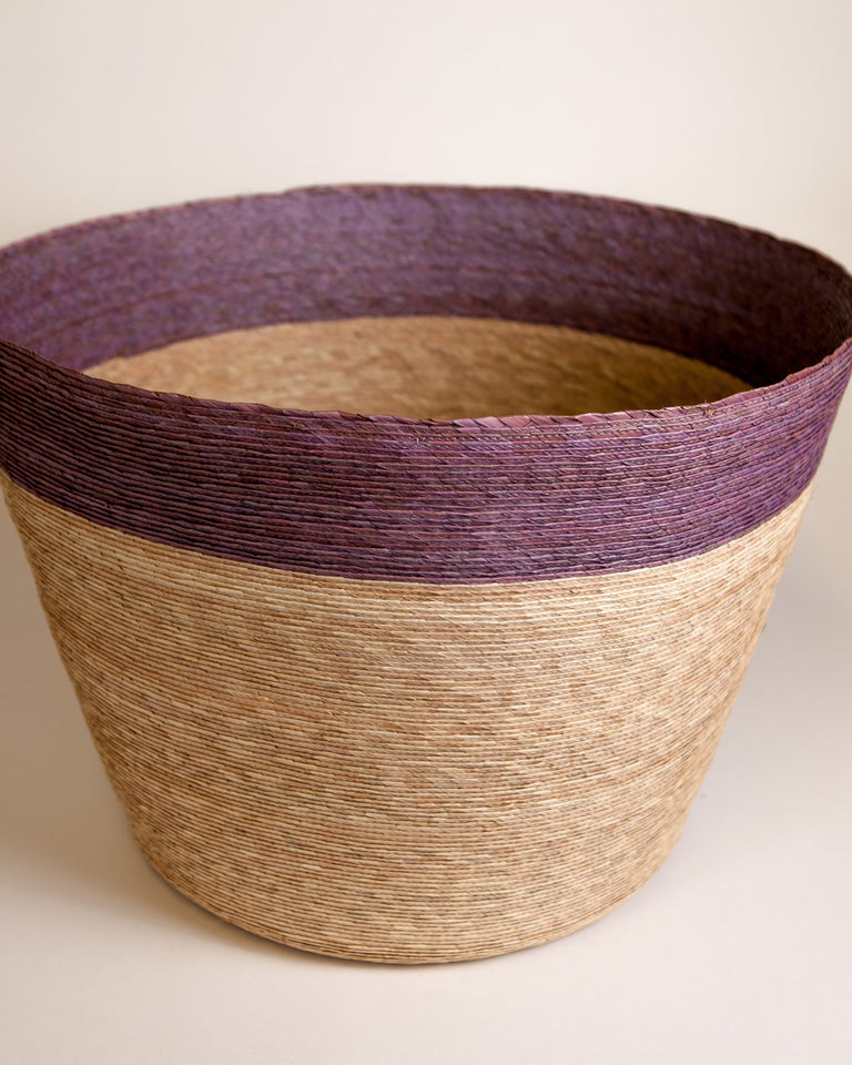 Handwoven palm tall floor basket
