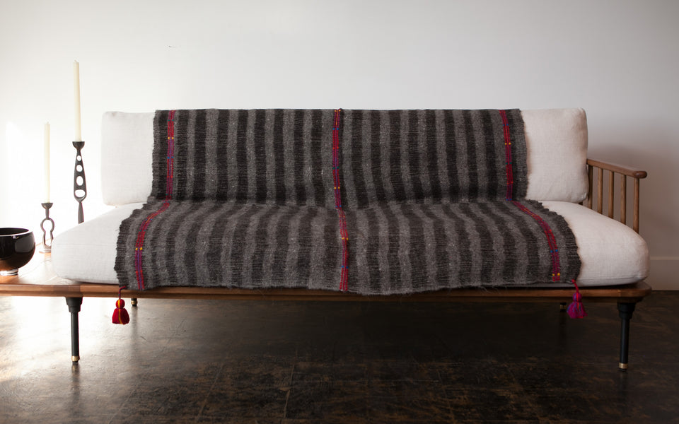 Chamula Wool Throw - Dark Grey Stripe