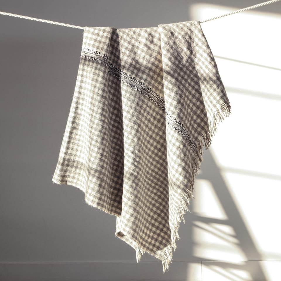 Handwoven wool throw grey and white checkered