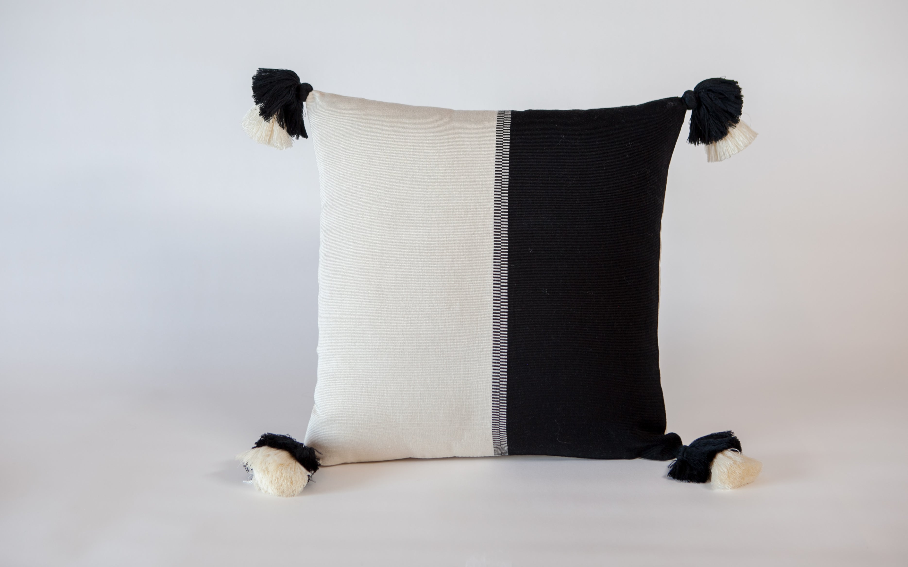 Peru Textil Color Block Pillow w/ double pompoms