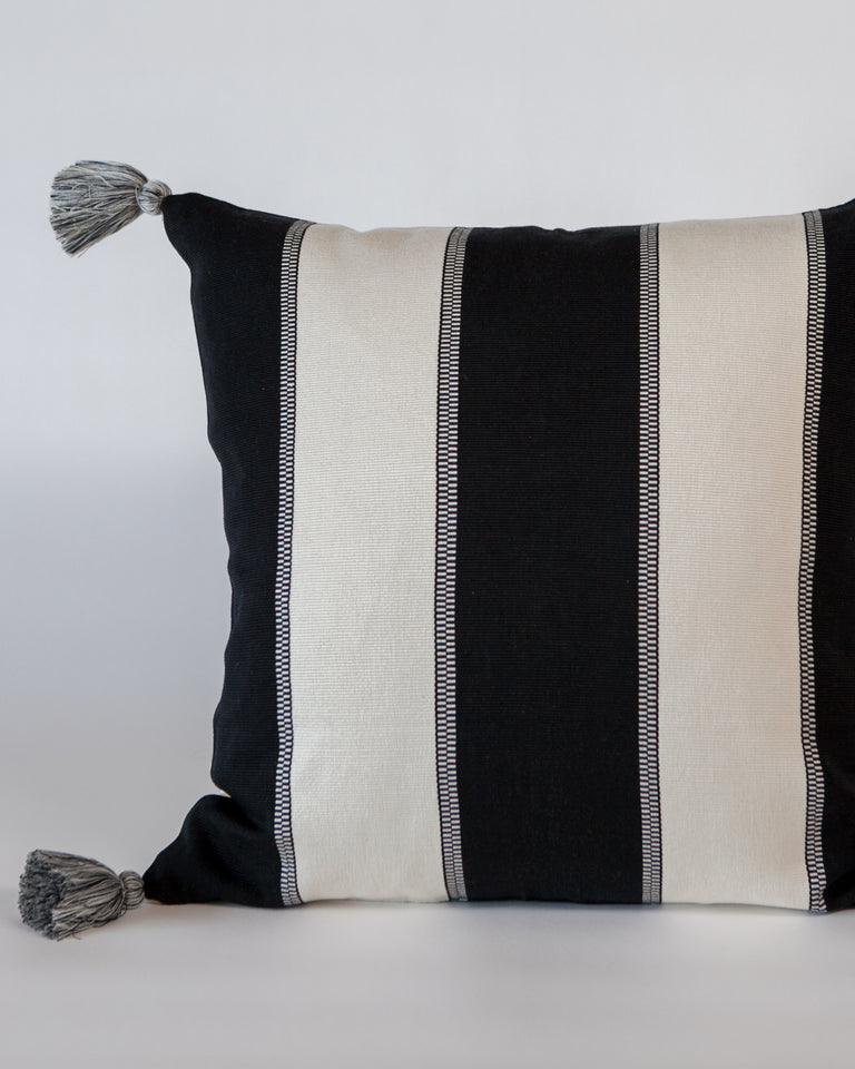 Peru Textil Triple Stripe Pillow w/ single pompoms