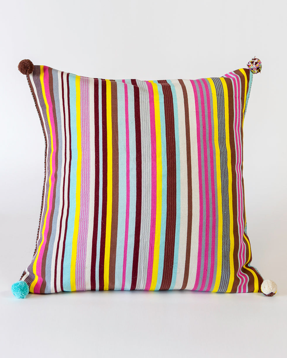 Handwoven cotton pillow pink colored stripes with poms