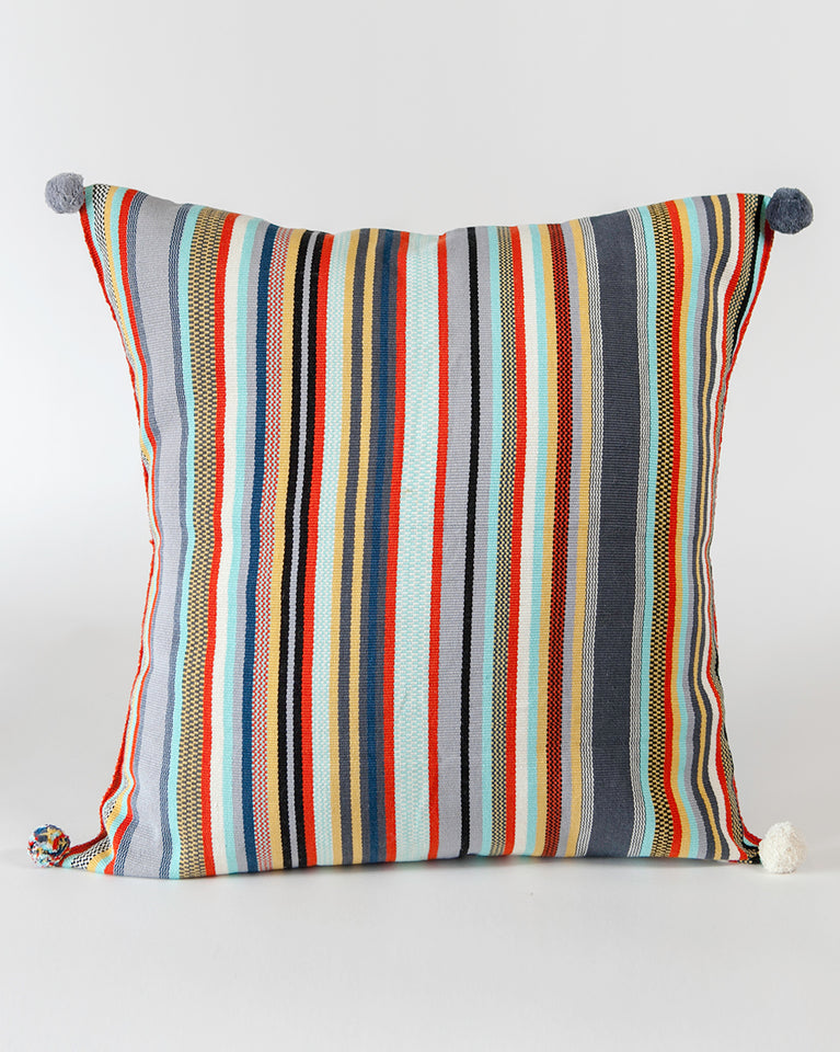 Handwoven cotton pillow grey colored stripes with poms