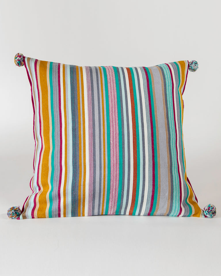 Handwoven cotton pillow grey and turquoise colored stripes with poms