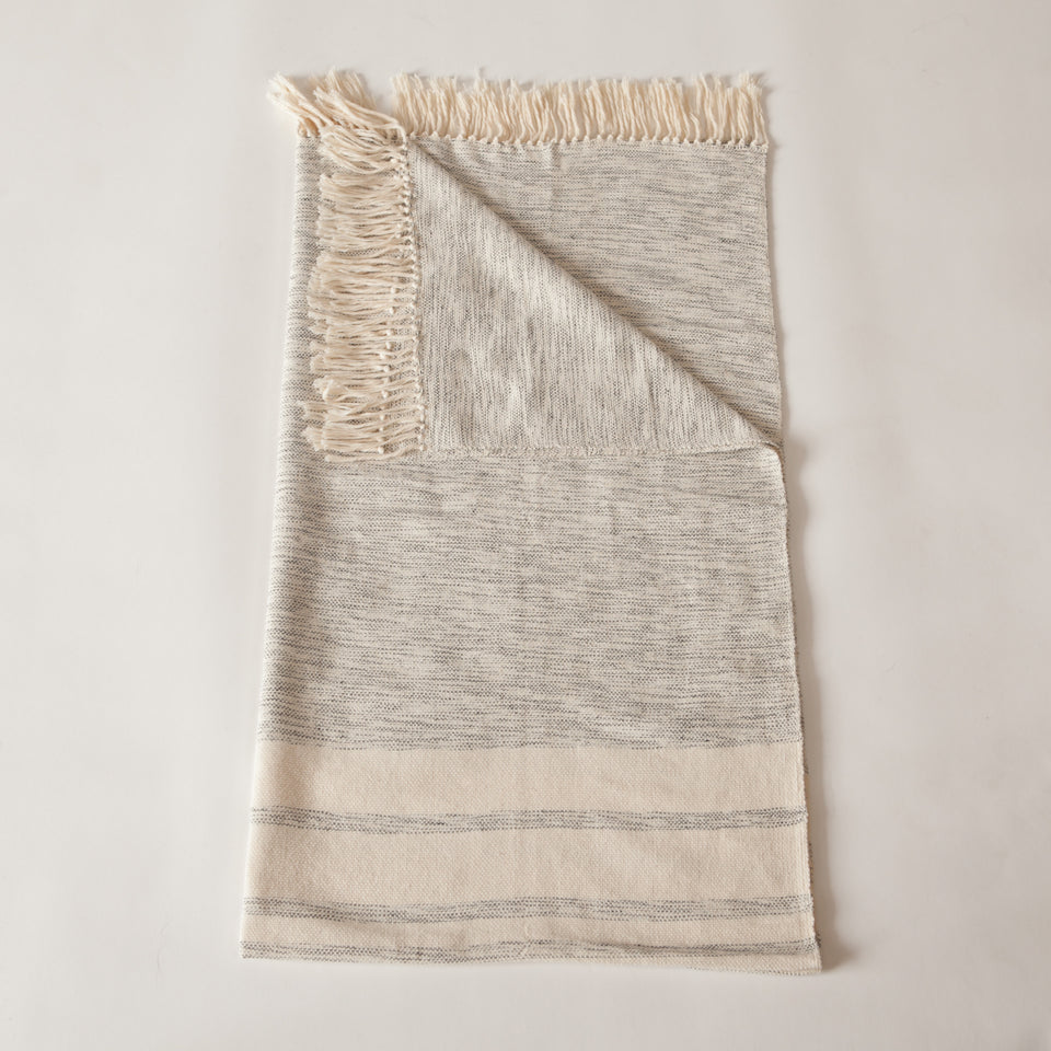 Handwoven cotton throw grey and white