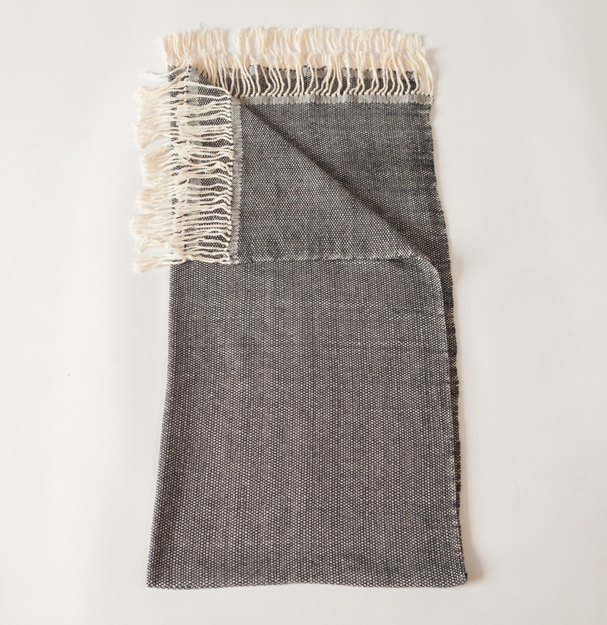 Handwoven cotton throw black and white