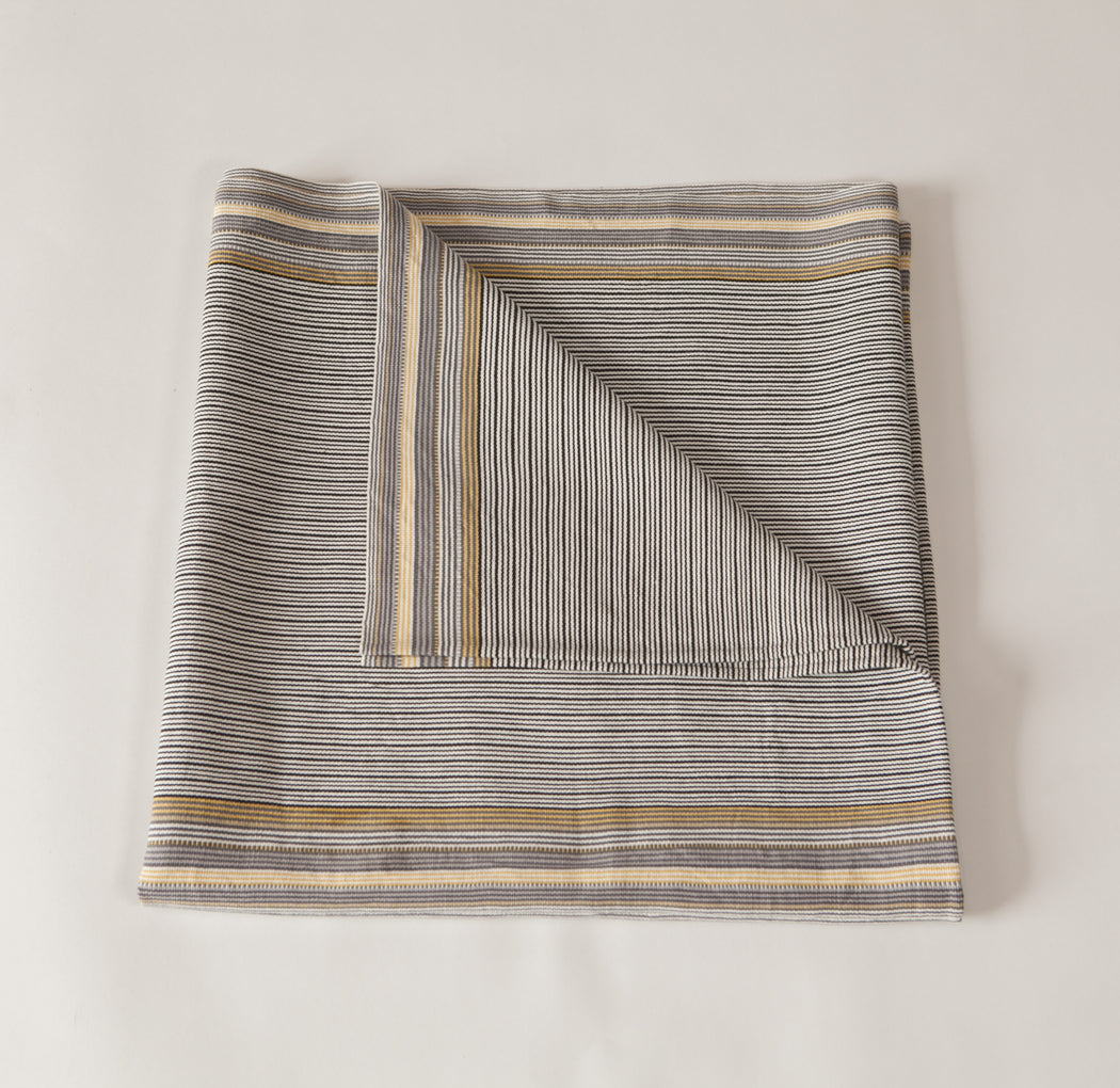 SanCri Cotton Throw - Thin Grey Stripe
