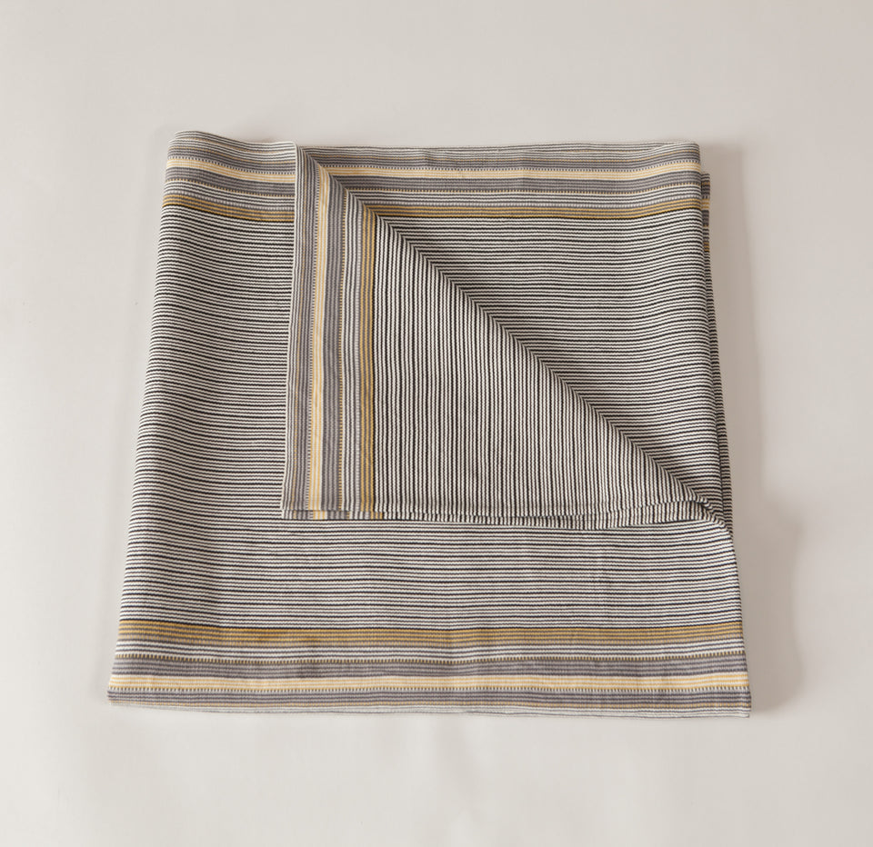 Handwoven cotton throw black and white with yellow and grey stripes