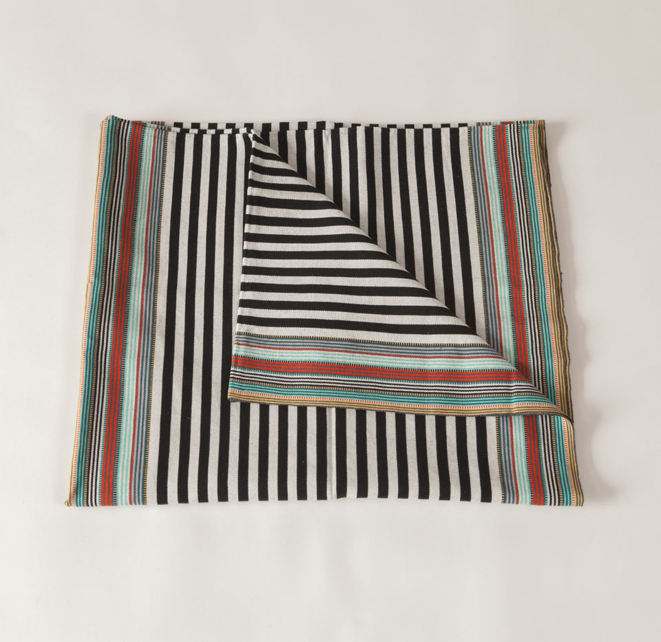 Handwoven cotton throw black and white B&W and green stripes