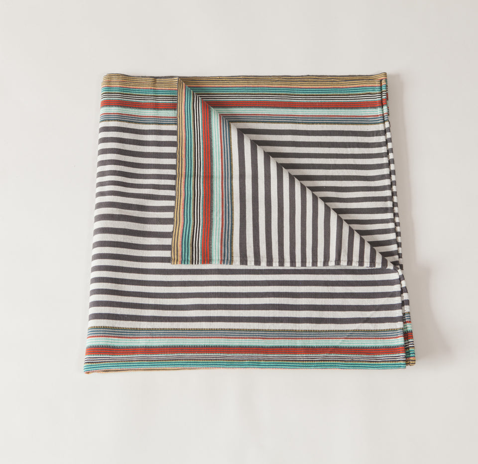 Handwoven cotton throw grey and white with colored stripes
