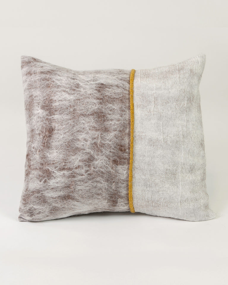 Hand-felted silk and wool pillow with yellow marigold trim